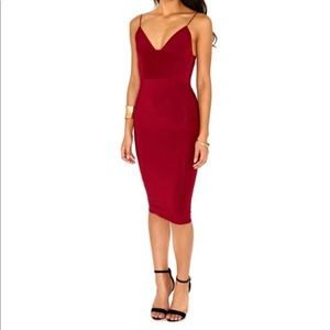 Misguided red midi dress